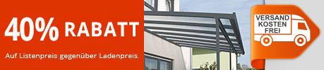 40% Rabatt auf Terrassenüberdachungen