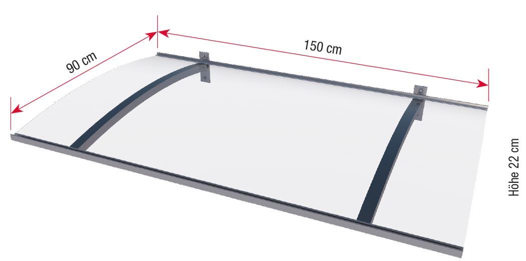 Maße Pultvordach mit LED-Technik
