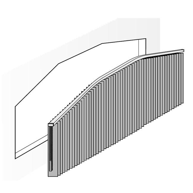 Lamellen-Slopeanlage mit mehreren Biegungen