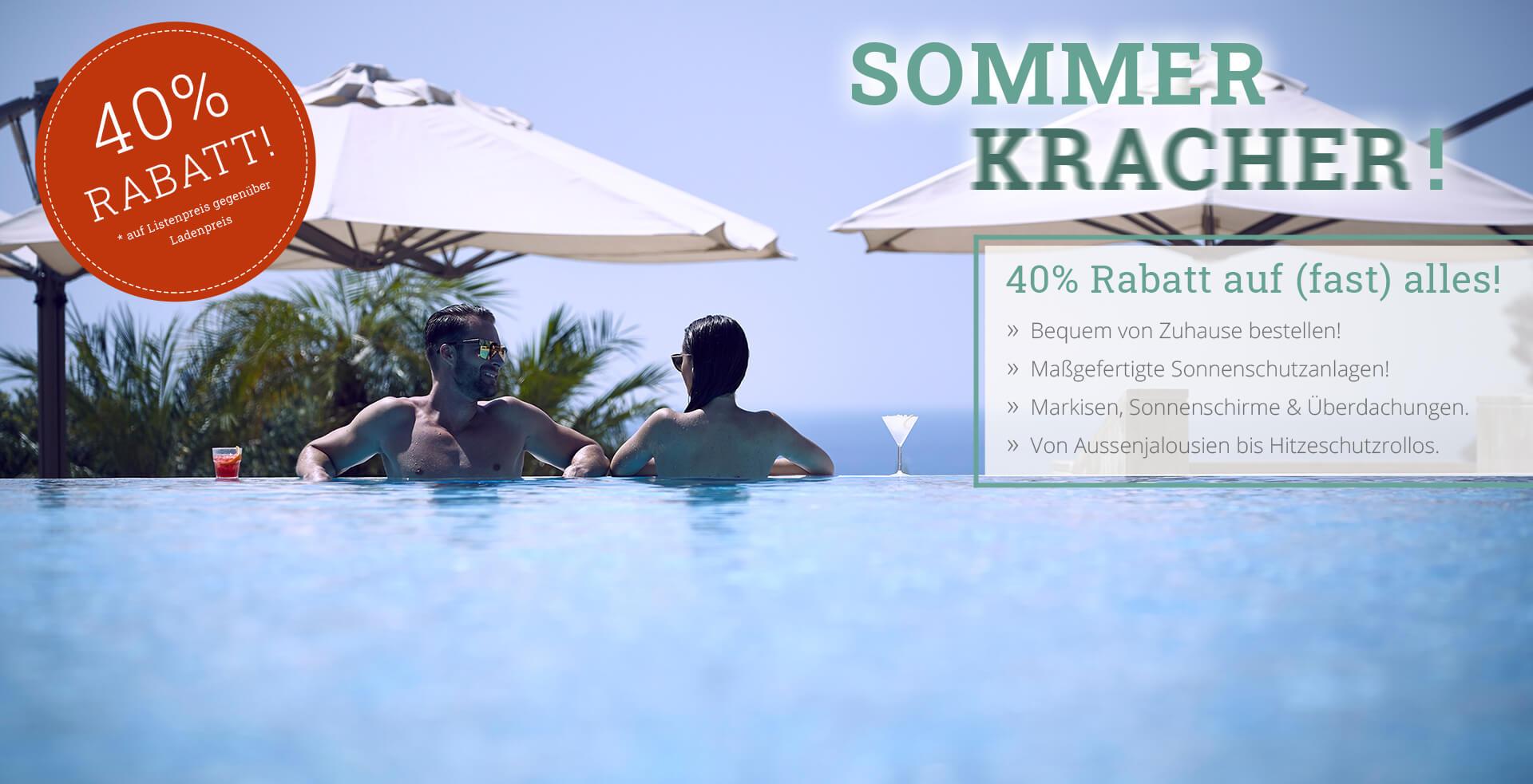 40% Rabatt auf Sonnenschutzanlagen